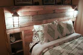 Headboards With Built In Lights Built In Headboard Brown Wall Color Built In Wooden Cabinet