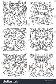 celtic animal knot ornaments mythical dragons stock vector