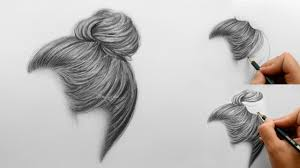 sketches of hair step by step how to draw shade realistic hair bun with pencils