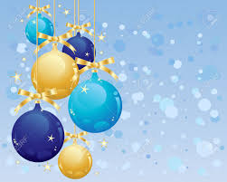 an illustration of metallic gold and blue bauble christmas