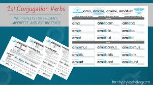 latin verb conjugations present stem worksheets family style