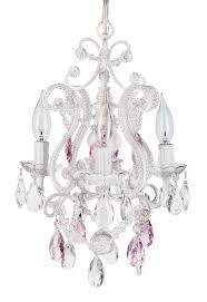 Pottery Barn Lydia Chandelier by 4 Light Mini Crystal Beaded Plug In Chandelier White W Pink