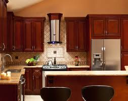 kitchen cabinets with backsplash cherry kitchen cabinets with gray wall and quartz countertops ideas