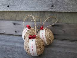 rustic burlap ornaments jingle bells let it snow
