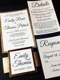 Layered Wedding Invitations Navy And Gold Glitter Wedding Invitation Luxury Wedding