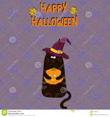 halloween background pumpkin halloween background cartoon black cat in witch hat with a