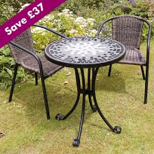 2 Chairs And Table Patio Set Dining Room Mosaic Bistro Table With Black Legs Plus Wicker Chair