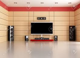 Livingroom Theater by Empty Living Room With Home Theater System Rendering Stock Photo