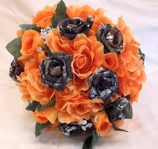 bullet flowers orange camo fall bouquet camo wedding bouquet bridal