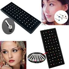 aliexpress nose rings images 60x crystal rhinestone nose ring bone stud surgical steel body jpg