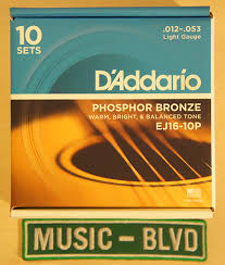 d addario ej16 phosphor bronze light acoustic guitar strings d addario ej16 10p phosphor bronze light acoustic guitar strings 10
