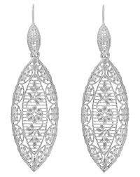 dangling diamond earrings deco dangling leaf sterling silver filigree diamond earrings