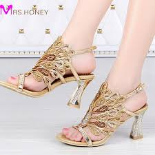 wedding shoes chunky heel gold blue summer sandals rhinestone chunky heel genuine leather