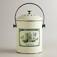 compost canister kitchen metal herb compost world market