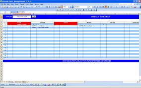 weekly calendar excel templates