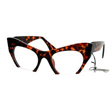 unique crop bottom retro cat eye clear lens eye glasses