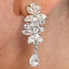 earrings online india cz silver floral earrings by valentines silver earrings homeshop18