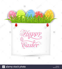 celebration postcard with easter ornamental eggs stock vector
