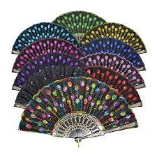 hand held fans for church chris w 10pack colorful paper folding fans with bamboo ribs hand