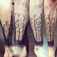 solid black tree branch half leg tattoo u2013 golden iron tattoo