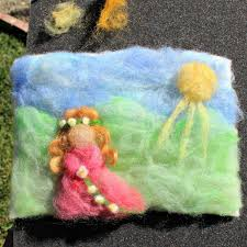 making needle felted paintings as christmas tree ornaments for