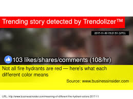 what each color means not all fire hydrants are red here s what each different color means