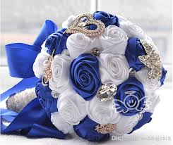 Royal Blue Wedding Bridal Wedding Bouquet High Quality Royal Blue White Wedding