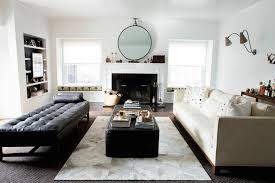 Cowhide Rug In Living Room Restoration Hardware Diamond Cowhide Rug Transitional Living Room