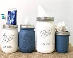 Mason Jar Bathroom Organizer Bathroom Organizer Etsy