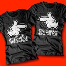 Couples Halloween Shirts by She U0027s Mine I U0027m Hers Cartoon Hands Shirts