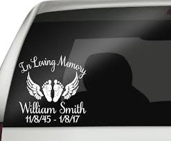 in loving memory baby car decal baby with wings