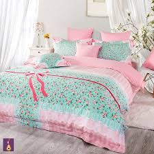 Blue Bed Sets For Girls by Charming Pink Blue Girls Flowers Lace Bowtie Print Bedding Sets