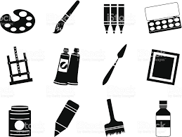 silhouette painter drawing and painting icons stock vector art