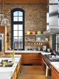 modern rustic kitchen with brick wall and silver hood ideas 2017