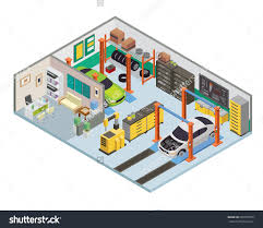 modern isometric car workshop garage interior stock vector modern isometric car workshop garage interior design