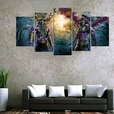 living room canvas 5 panel world of warcraft game poster wall art picture home
