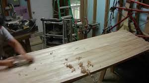 floating and leveling a long grain butcher block table youtube