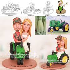 farm cake toppers farm wedding cake topper with deere tractor