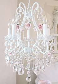 Shabby Chic White Chandelier 5 Light Crystal Chandelier With Pink Porcelain Roses My Romantic