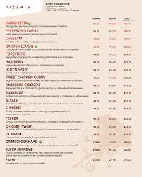 menukaart restaurant pizza hut belgië plaatsen om te bezoeken