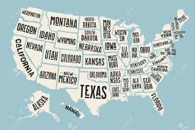 Map Of Mexico With States by Poster Map Of United States Of America With State Names Print