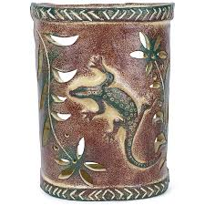 Mexican Sconces Gecko Lizard Southwest Painted Clay Wall Sconce