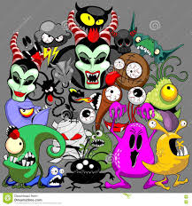 monsters doodles spooky halloween characters stock vector image