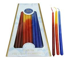 hanukkah candles colors handmade safed dripless hanukkah candles light blue and
