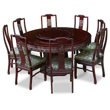 round carving wood dining table and 8 high back chairs decofurnish