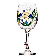mermaid painted wine glass custom wine glasses design painted