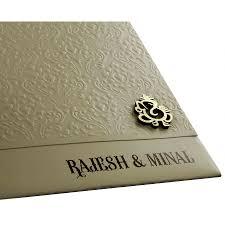 Modern Indian Wedding Invitations Hindu Wedding Invitation In Brown With Laser Cut Ganesha