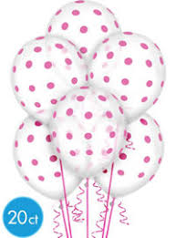 polka dot balloons transparent bright pink polka dot balloons 20ct party city