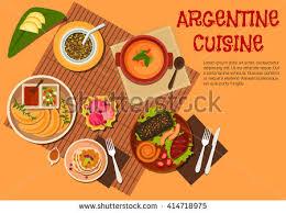 cuisine argentine argentine cuisine grilled beef steak sausages stock vector