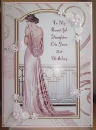 handmade art deco personalised 21st birthday card with a graceful